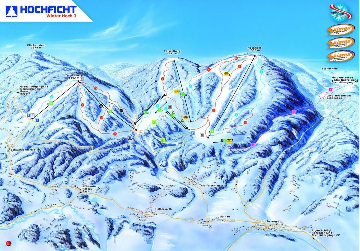 Skiareál Hochficht - Mapa areálu